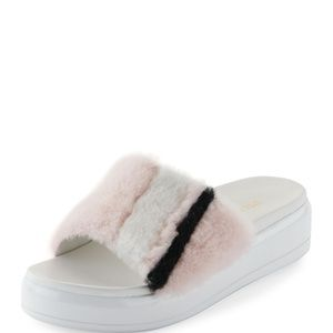 PradaShearling Fur Flatform Slide Sandal